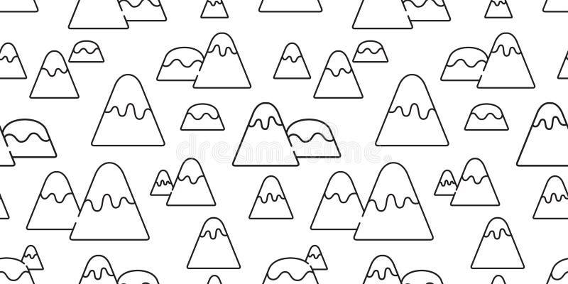 Halnego bezszwowego deseniowego śnieżnego halnego wzgórza drewnianego lasowego odosobnionego tła doodle tapetowa kreskówka ilustracja wektor