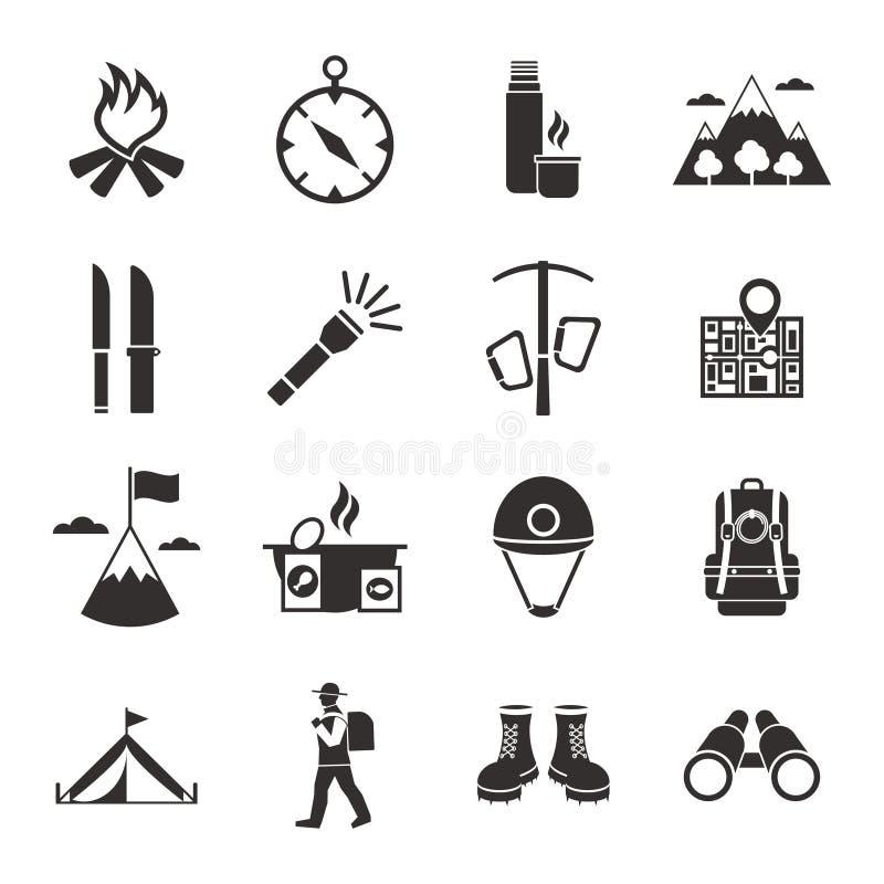 Halnego pięcia czerni Białe ikony Ustawiać ilustracji