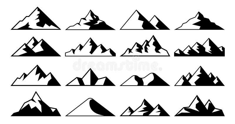 Halnego szczytu ikona Tybet góry, gór lodowych wzgórzy wierzchołki i Everest wzgórze, kształtują teren wektorowe ikony ustawiać ilustracja wektor