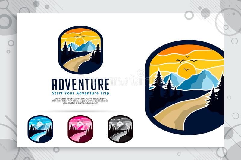Halnej przygody wektorowy logo z odznaki pojęcia projektem Szablon Ilustracyjna góra jako symbol badacz dzika natura ilustracji