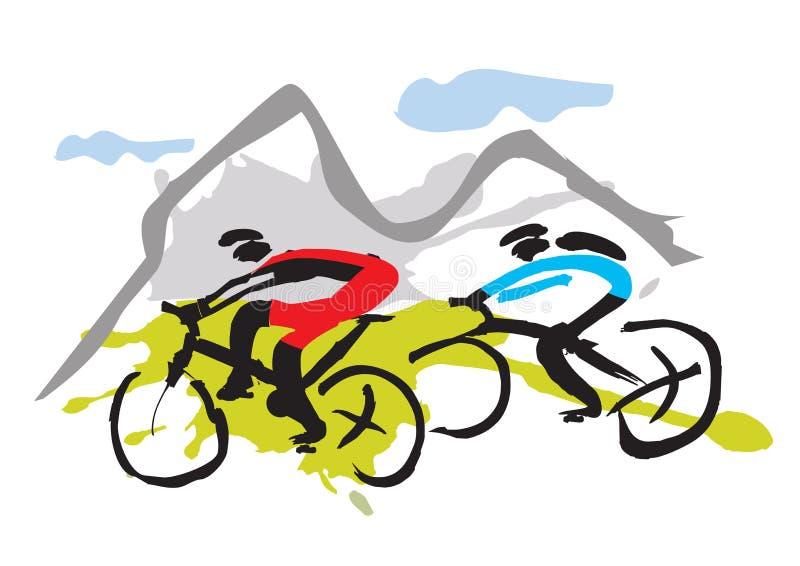 Halni rowerzyści jedzie ślad ilustracji