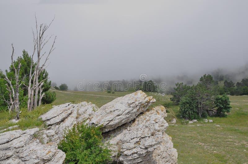 Halni szczyty Krymskie góry zakrywać z mgłą na tle niebo zdjęcie stock