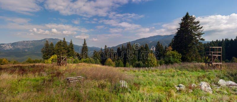 Halni szczyty w jaskrawym świetle słonecznym Drewniane budowy dla trenować na łące obrazy royalty free
