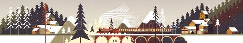 Halny śnieżny zima krajobraz z iglastym lasem, sosnami, chałupami i pociągiem, ilustracja wektor