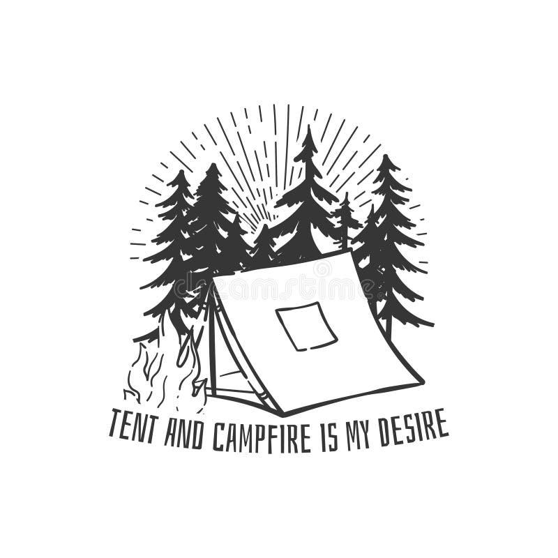 Halny campingowy logo z sosnami i ogniskiem Znaczek, szpilka, koszulka druku projekt ilustracja wektor