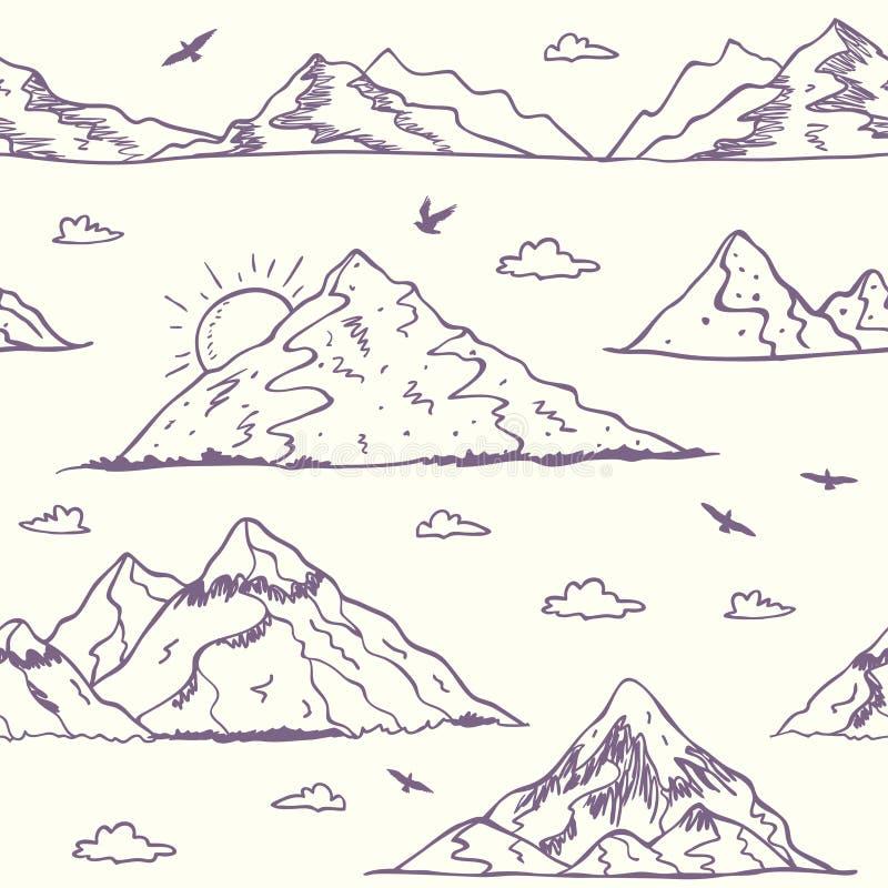 Halny doodle bezszwowy royalty ilustracja