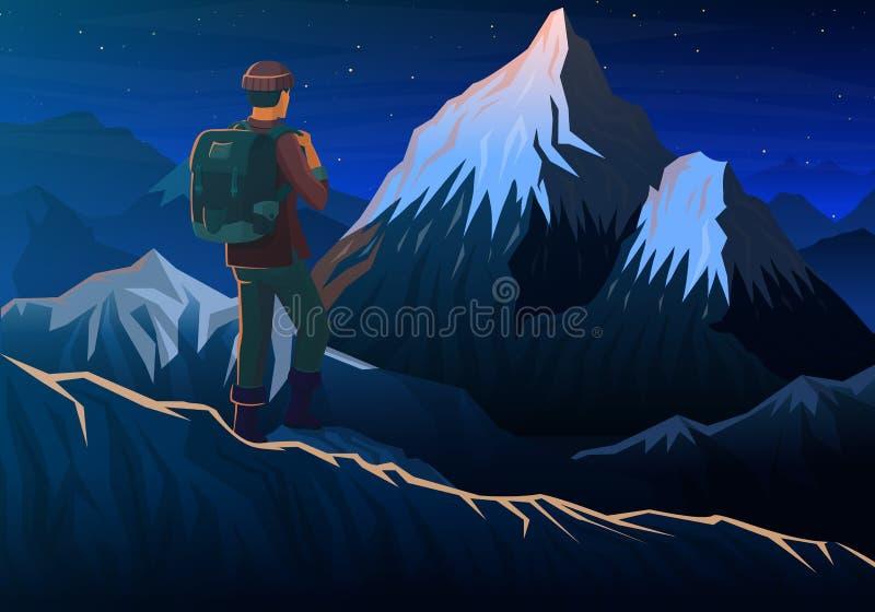 Halny Everest z turystą, noc panoramiczny szczyty widok, krajobraz wcześnie w świetle dziennym podróż lub camping wspina się, ilustracji