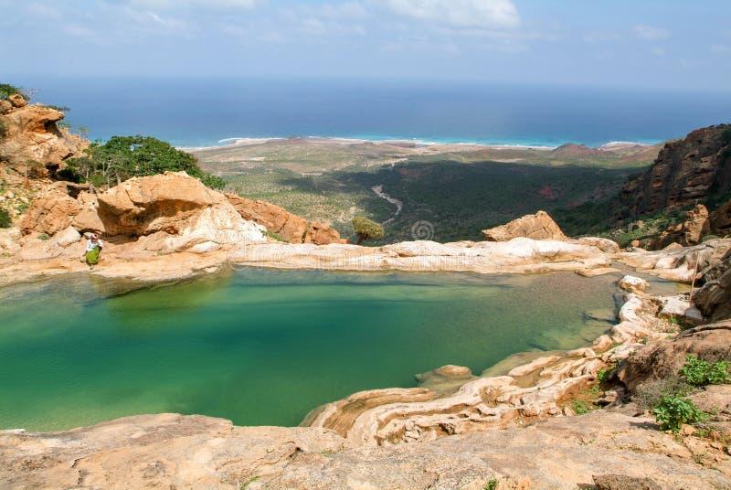Halny jezioro Homhil na wyspie Socotra fotografia stock