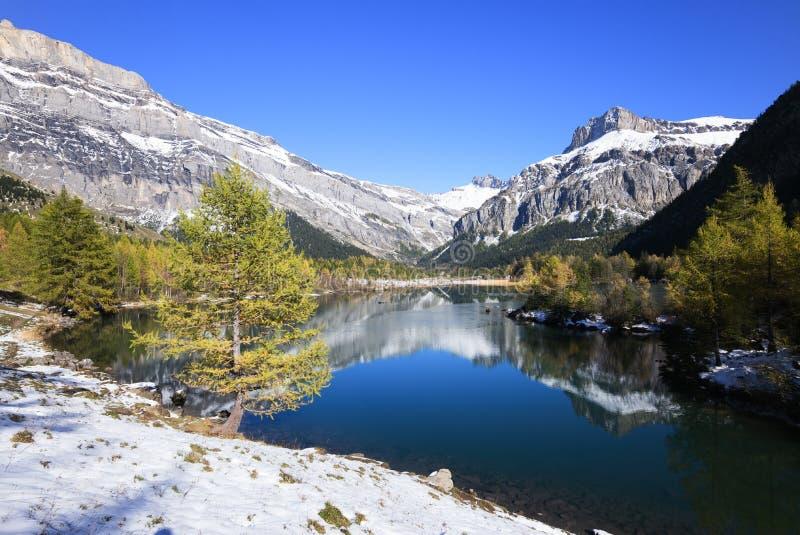 Halny jezioro z śniegiem zdjęcia stock