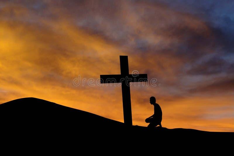 Halny krzyż i czciciel obrazy stock
