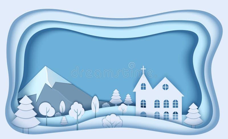 Halny lasu krajobraz w papieru ci?cia stylu 3d tapetuj? r?ni?tego ko?ci?? z drzewem, krzak zimy poj?cia projekt weso?ych ?wi?t ilustracji