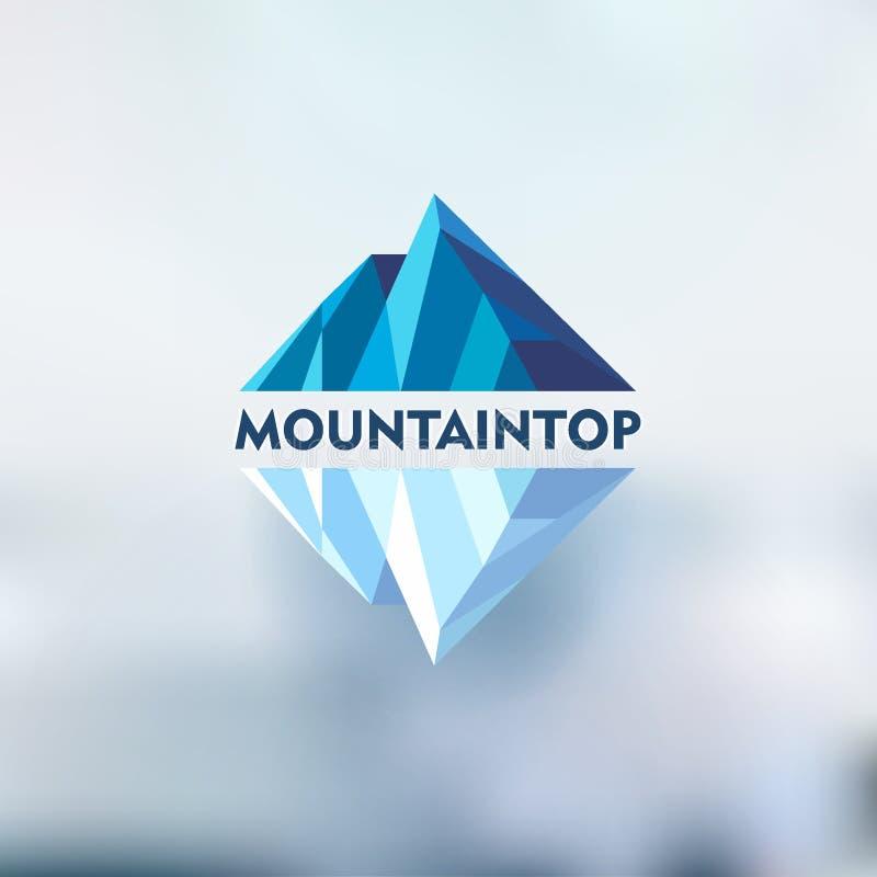 Halny logo, wektorowy projekta pojęcie dla narciarskich sportów, turystyka, aktywny czas wolny ilustracji
