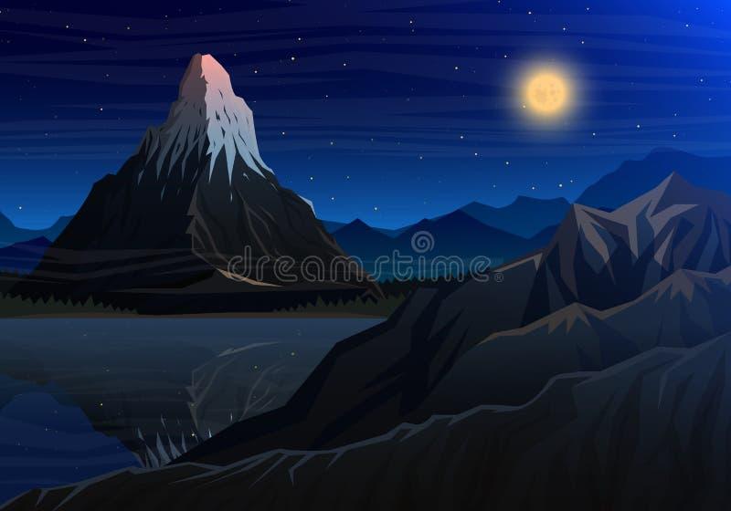 Halny Matterhorn, noc panoramiczny szczyty z siklawą widok, krajobraz wcześnie w świetle dziennym podróż lub camping ilustracji