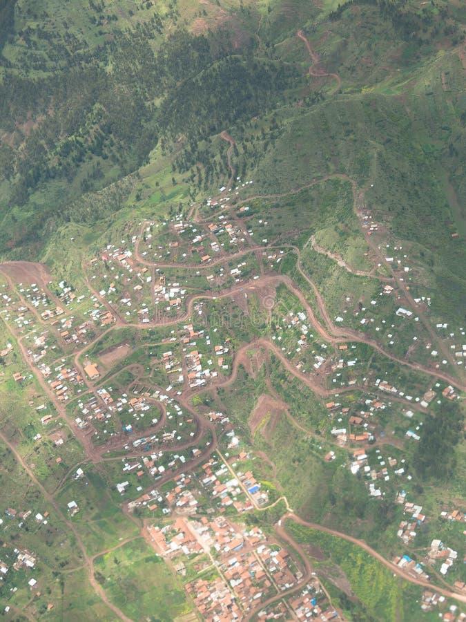 Halny miasteczko, Andes, widok z lotu ptaka zdjęcie royalty free