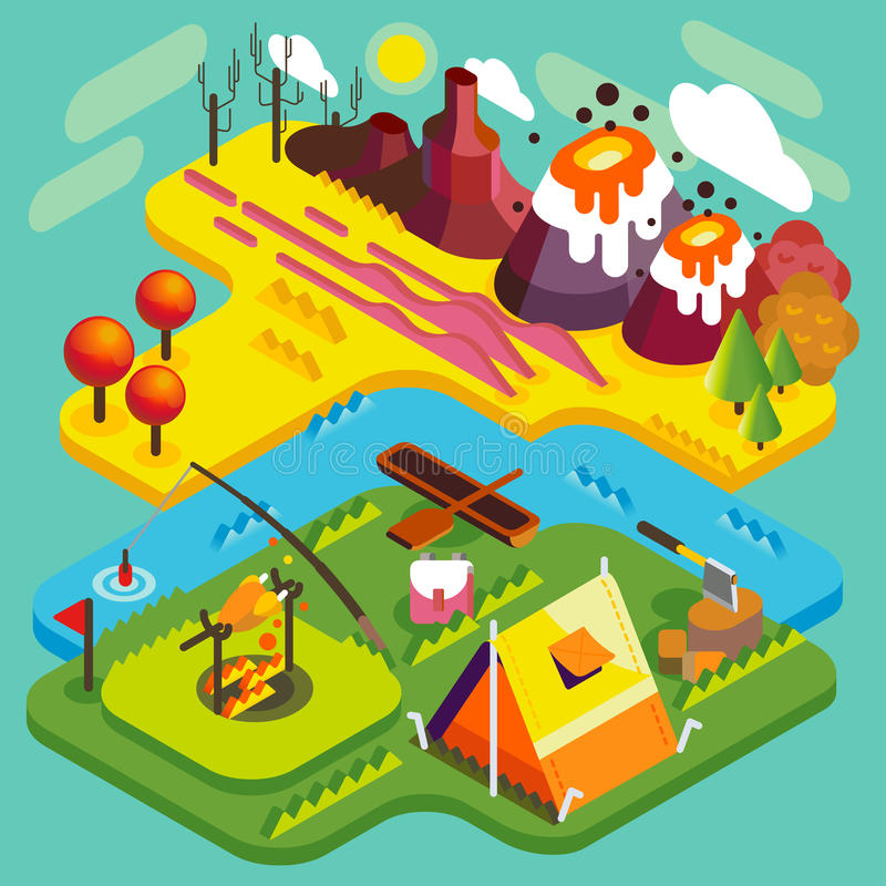 Halny mieszkanie krajobraz Isometric ilustracji