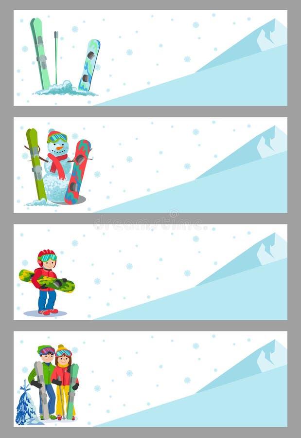 Halny narciarki zimy sporta ulotki projekta szablon Jazda na snowboardzie i narciarstwo na ulotkach również zwrócić corel ilustra royalty ilustracja