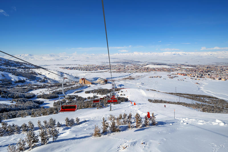 Halny narciarstwo, Palandoken Erzurum obrazy royalty free