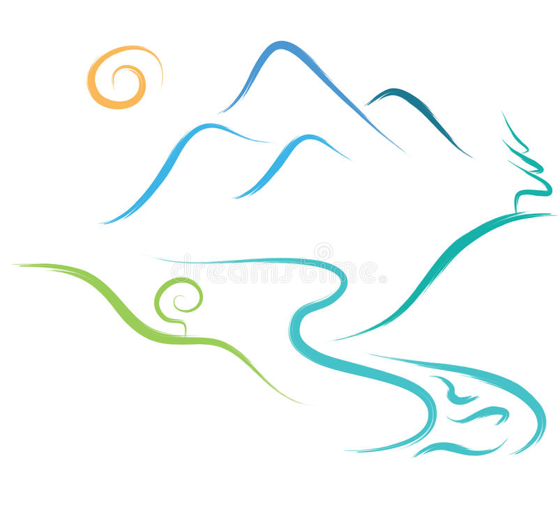 Halny natura logo zdjęcia stock