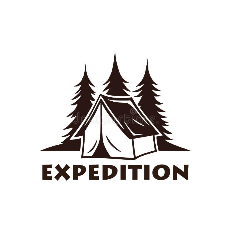 Halny ognisko logo, etykietki Ustawiający i Wektorowy ilustracyjny szablon ilustracja wektor