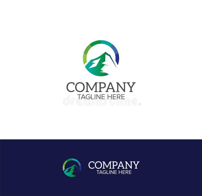 Halny okręgu logo szablon obraz royalty free