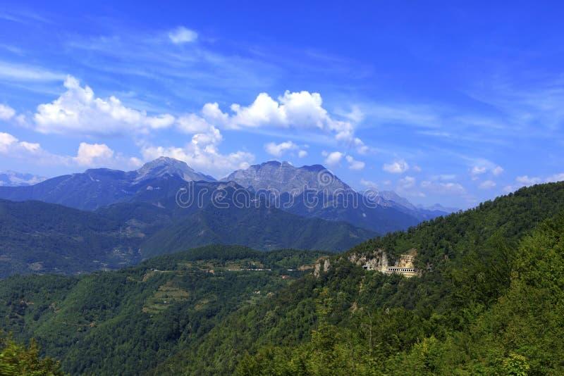 Halny panoramiczny krajobraz skaliste granie przerastać z zwartym lasem Montenegro obraz royalty free