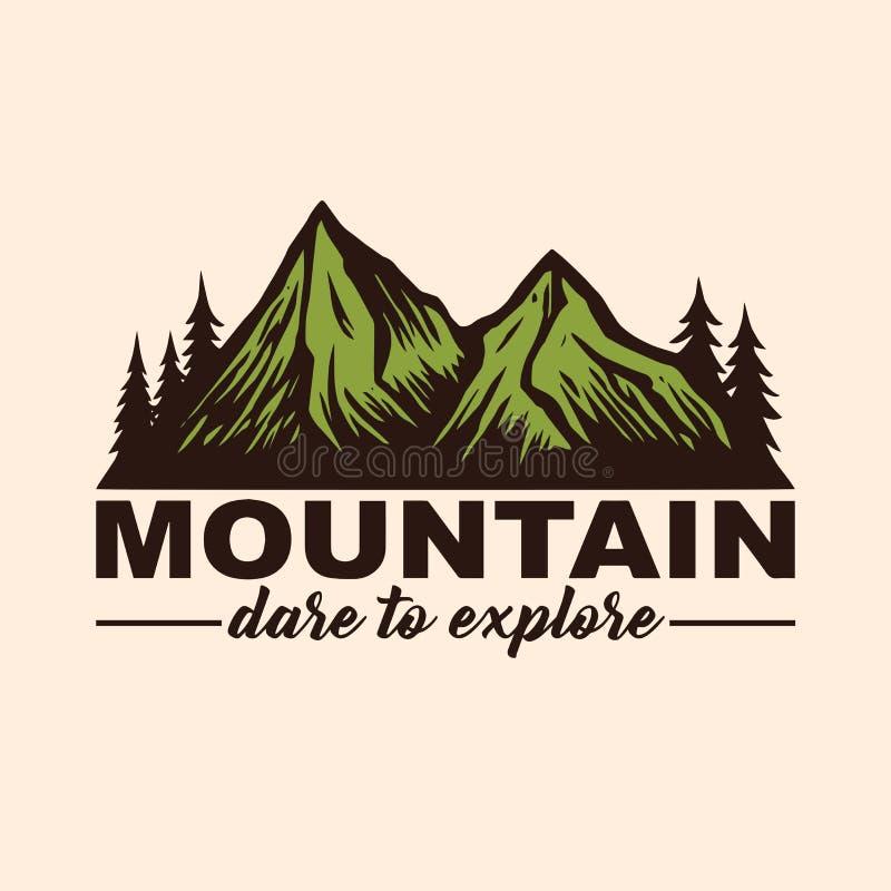 Halny przygoda logo, emblematy i odznaki, Obóz w Lasowym Wektorowym Ilustracyjnym projektów elementów szablonie royalty ilustracja