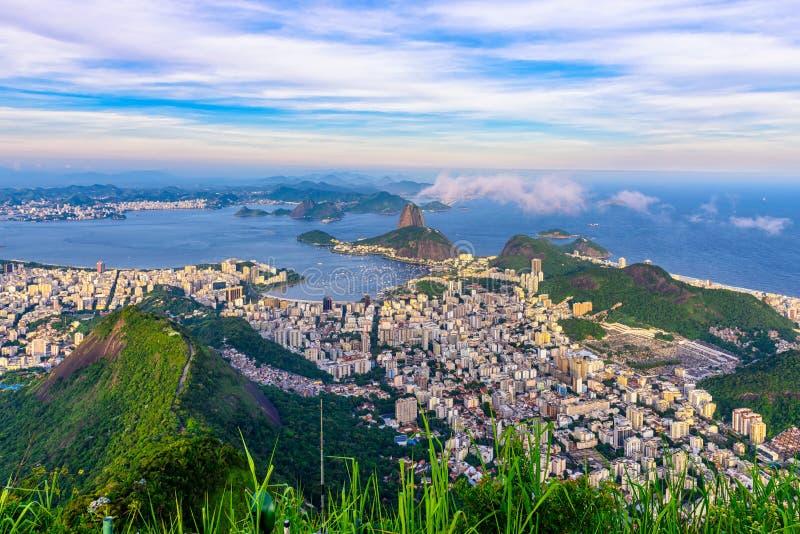 Halny Sugarloaf i Botafogo w Rio De Janeiro, Brazylia zdjęcia stock
