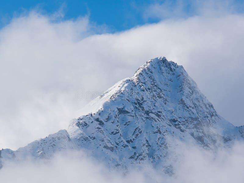 Halny szczyt śnieg pełno surronded chmurami obraz royalty free