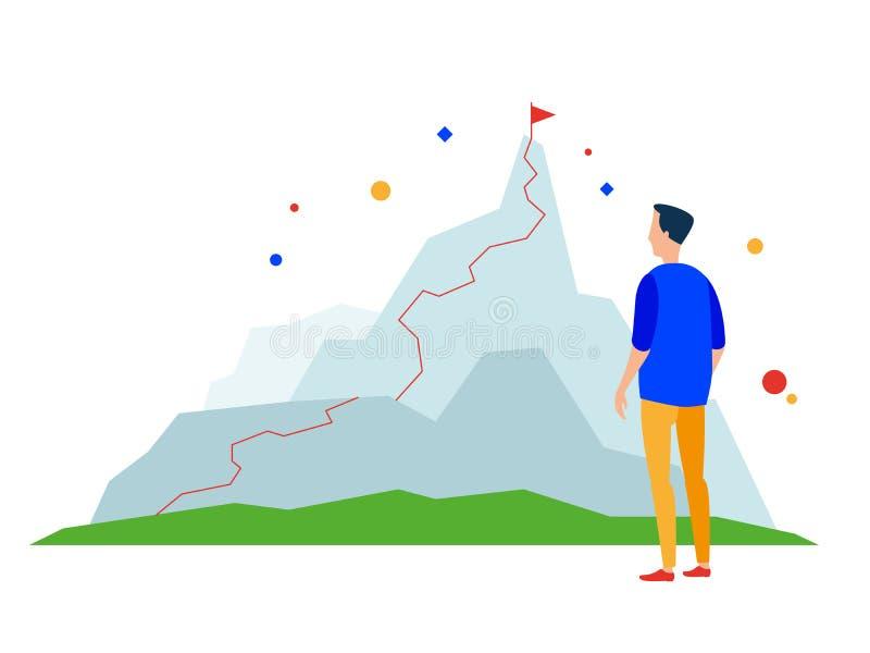 halny szczyt Biznesowego sukcesu ścieżka ilustracji