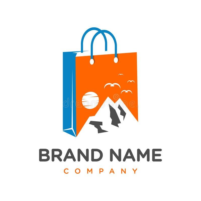 Halny wyposażenie robi zakupy logo projekt ilustracja wektor