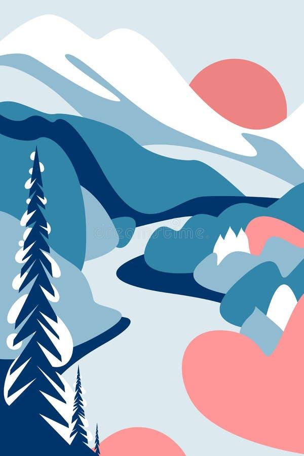 Halny zima krajobraz od stopy, skłonów, lodowów i śnieżnej nakrętki, Jodły w śniegu, lasach i drzewach, rzeka ilustracja wektor