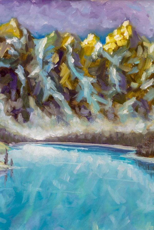 Halnych szczytów grafiki ilustracja - góra obrazu olejnego Krajobrazowa sztuka ilustracji