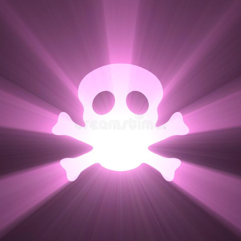 Halo de la luz del símbolo del cráneo de la bandera de pirata stock de ilustración