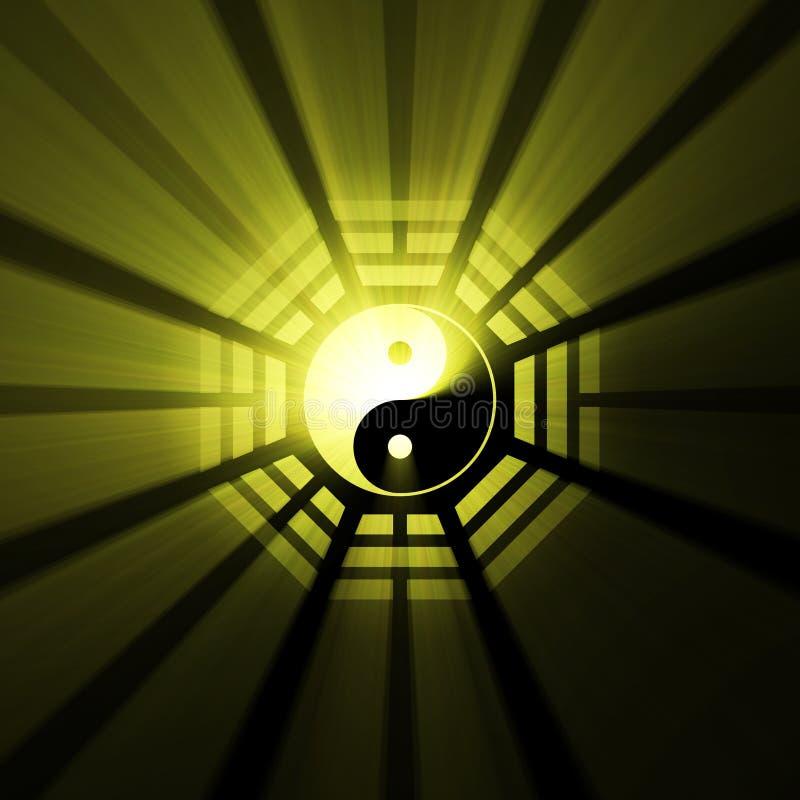Halo de lumière de symbole de Bagua Yin Yang illustration de vecteur