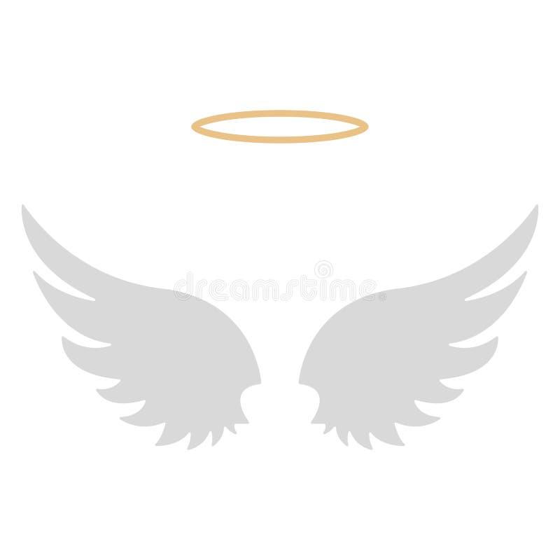 Halo en Angel Wings royalty-vrije illustratie