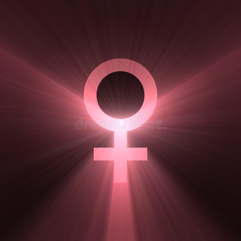 Halo femelle de lumière de signe de Vénus de symbole illustration libre de droits