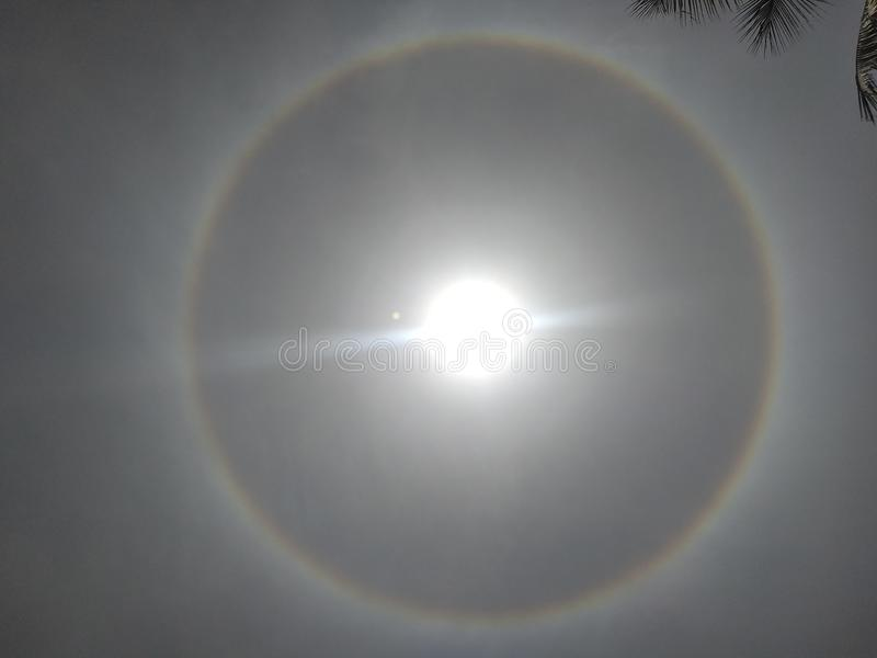 Halo 22 , ring side of the sun earth nature magic stock image