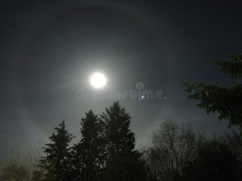 Halo rond maan royalty-vrije stock afbeelding