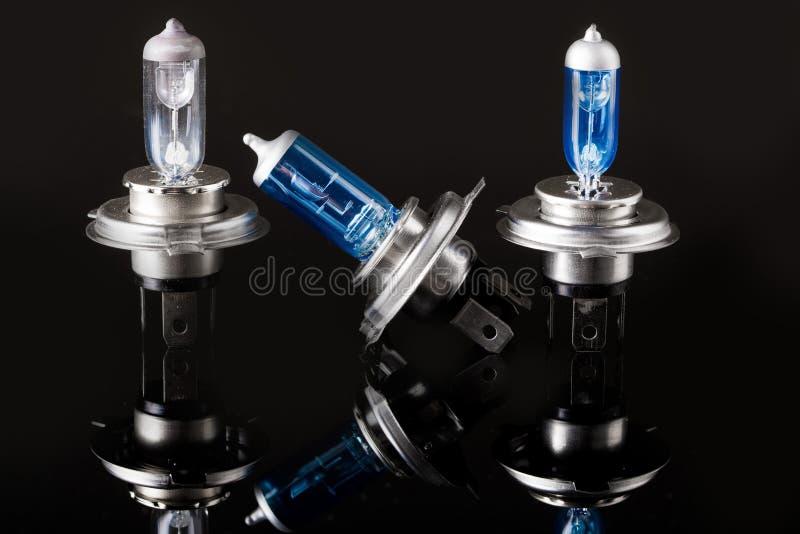 Halogen car lamp, isolate on black. Halogen car lamp. isolate on black background royalty free stock photos