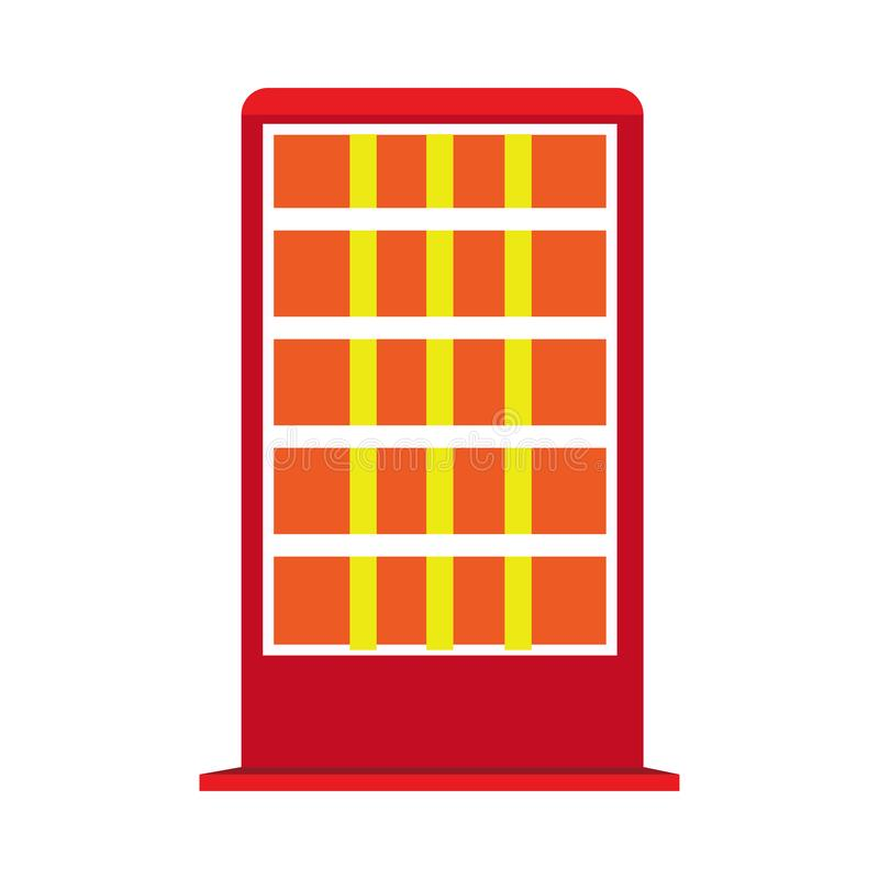 Halogen electric heater red appliance vector icon. Warm glowing floor lamp radiator isolated white vector illustration