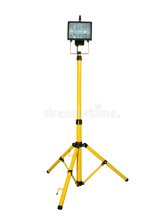 Halogen projector mounted on a tripod stock photo