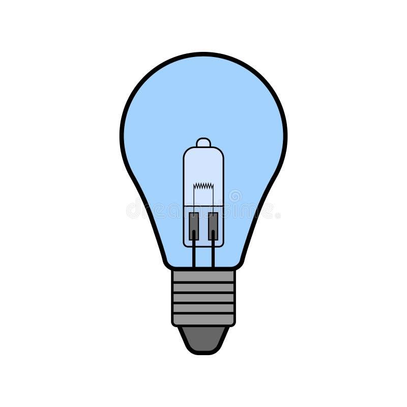 Halogen tänder kulan Plan färgsymbol Korridorflodljus för belysning equipment slappt trevligt sparande för energiillustration royaltyfri illustrationer