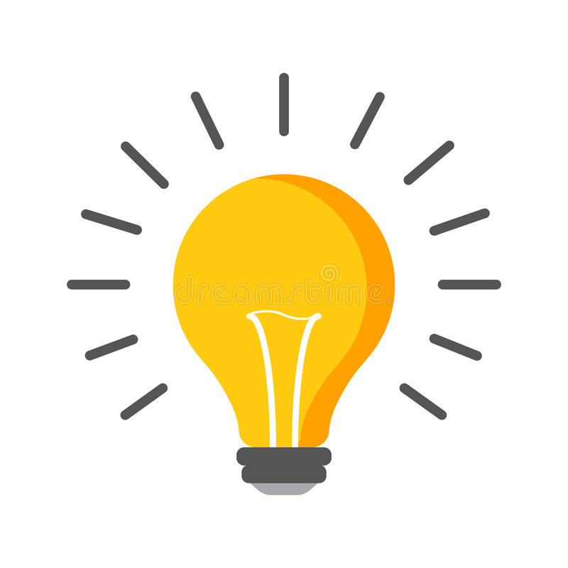 Halogenglühlampenikone Glühlampezeichen Strom und Idee sy stock abbildung
