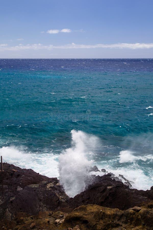 Halona-Luftloch, Oahu lizenzfreies stockbild