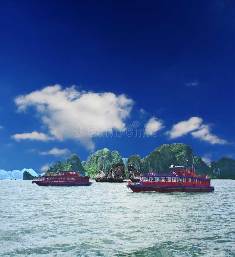 Halong Bay Kissing Rocks stock photo