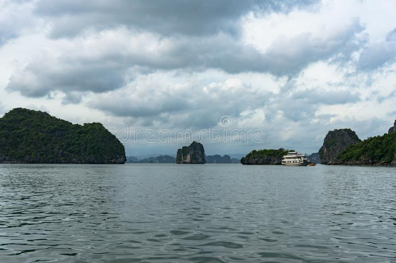 Halong bay landscape with picturesque karst islands stock photos
