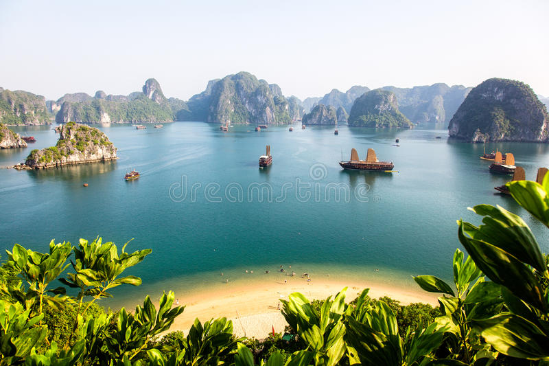 Halong Bay. Sunny Halong Bay seen from the summit of a limestone island stock photography
