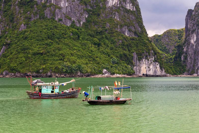 Halong bay traditional fishing boats, UNESCO world natural heritage, Vietnam royalty free stock photos