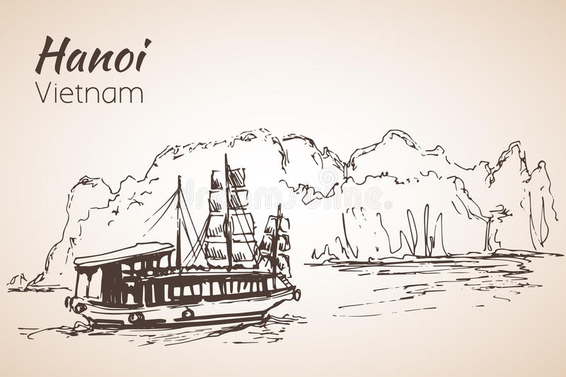 Halong fjärdfartyg vietnam stock illustrationer