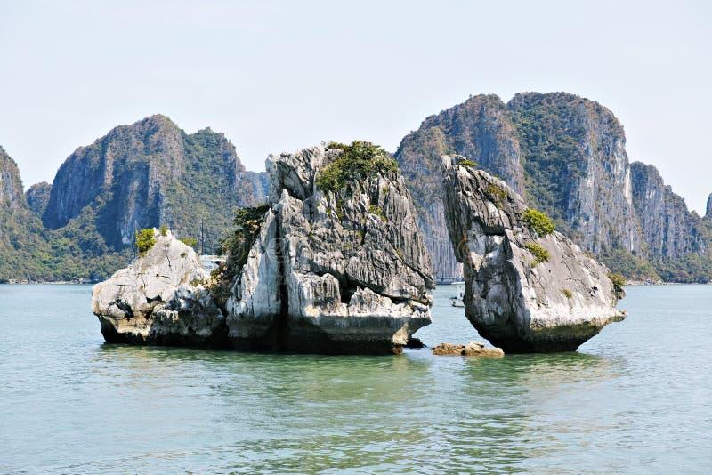 Halong zatoka, WIETNAM - kurczak skały fotografia stock